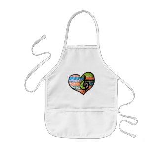 Colorful Rainbow Music Heart Customizable Kids' Apron
