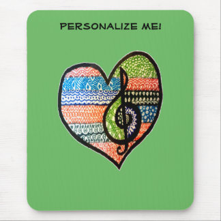 Colorful Rainbow Music Heart Customizable Mouse Pad