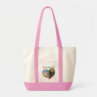 Colorful Rainbow Music Heart Customizable Tote Bag