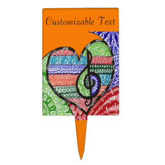 Colorful Rainbow Music Heart Doodle Personalized Cake Topper