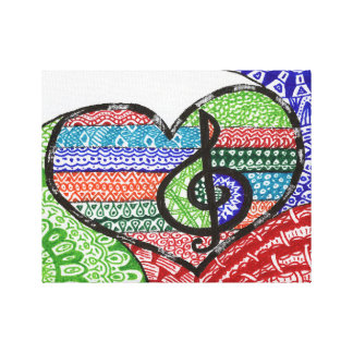 Colorful Rainbow Music Heart Doodle Personalized Canvas Print