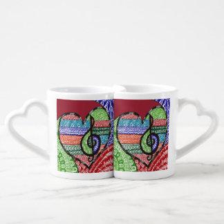Colorful Rainbow Music Heart Doodle Personalized Coffee Mug Set
