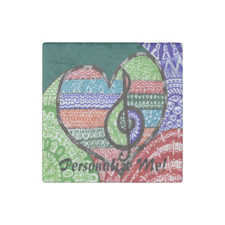 Colorful Rainbow Music Heart Doodle Personalized Stone Magnet