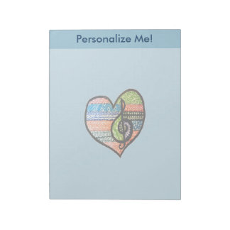 Colorful Rainbow Music Heart Doodle Personalized Notepad