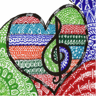 Colorful Rainbow Music Heart Doodle Personalized Photo Sculpture Magnet