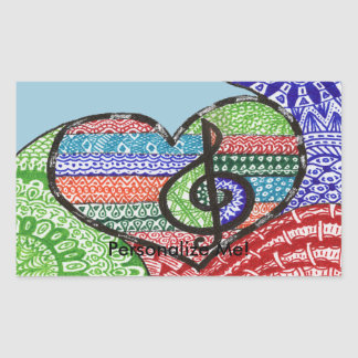 Colorful Rainbow Music Heart Doodle Personalized Rectangular Sticker