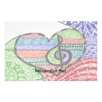 Colorful Rainbow Music Heart Doodle Personalized Stationery