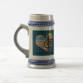 Colorful Rainbow Music Heart Doodle To Customize Beer Stein