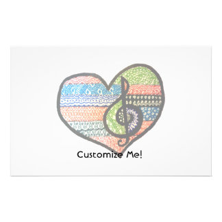 Colorful Rainbow Music Heart Doodle To Customize Stationery