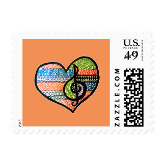 Colorful Rainbow Music Heart Personalized Postage