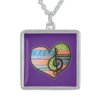 Colorful Rainbow Music Heart Personalized Sterling Silver Necklace