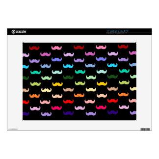 "Colorful Rainbow Mustache pattern on black 15"" Laptop Skins"
