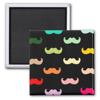 Colorful Rainbow Mustache pattern on black 2 Inch Square Magnet