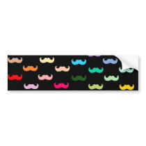 Colorful Rainbow Mustache pattern on black Bumper Sticker