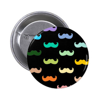 Colorful Rainbow Mustache pattern on black Pins