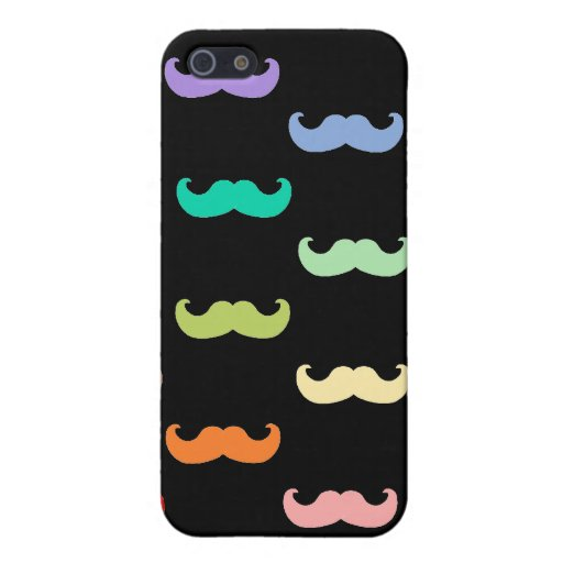 Colorful Rainbow Mustache pattern on black iPhone 5 Case