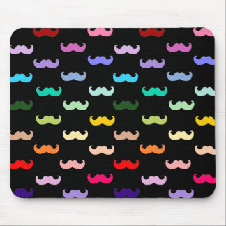 Colorful Rainbow Mustache pattern on black Mouse Pad