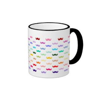 Colorful Rainbow Mustache pattern on black Ringer Coffee Mug