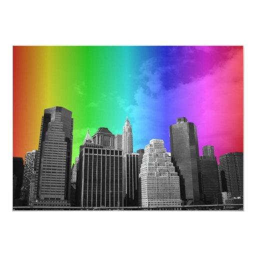 Colorful Rainbow New York City Themed Gay Wedding 5x7 Paper Invitation Card
