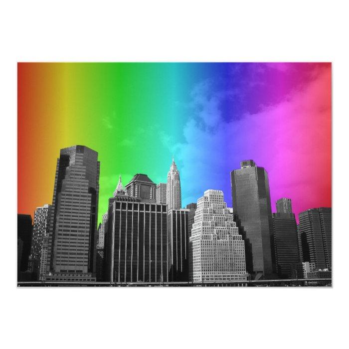 Colorful Rainbow New York City Themed Gay Wedding Card