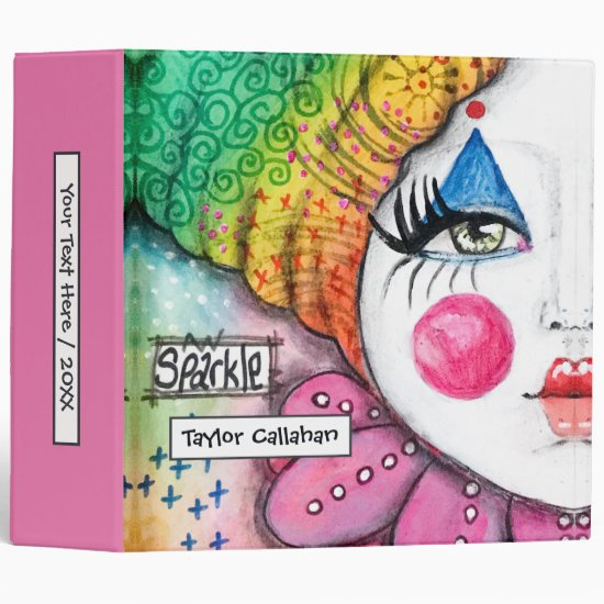 Colorful Rainbow Ombre Clown Girl Cute Whimsical 3 Ring Binder