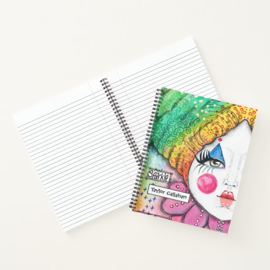 Colorful Rainbow Ombre Clown Girl Cute Whimsical Notebook
