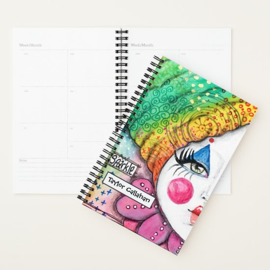 Colorful Rainbow Ombre Clown Girl Cute Whimsical Planner