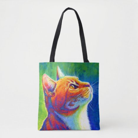 Colorful Rainbow Orange Tabby Cat Tote Bag
