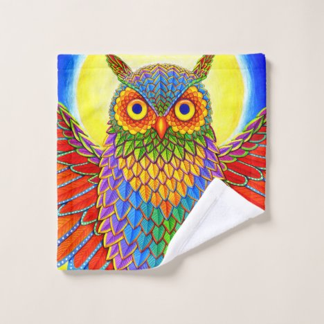 Colorful Rainbow Owl bath towel set