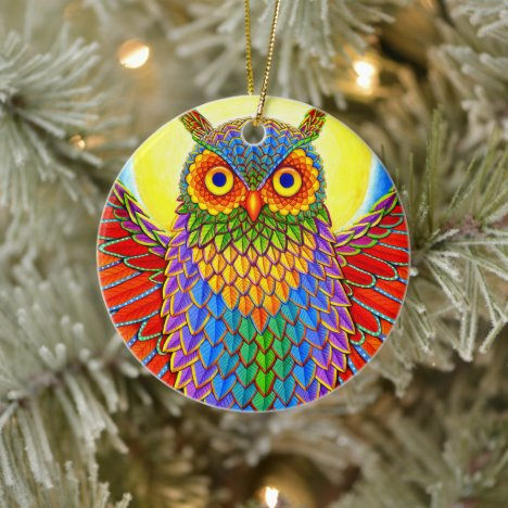 Colorful Rainbow Owl Ceramic Ornament