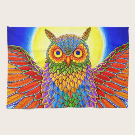 Colorful Rainbow Owl Kitchen Towel
