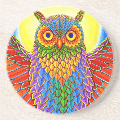 Colorful Rainbow Owl Round Stone Coaster