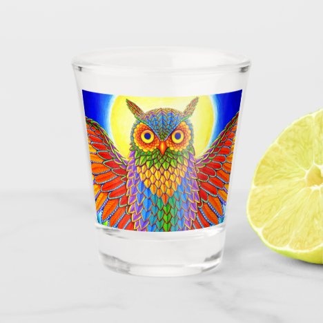 Colorful Rainbow Owl Shot Glass