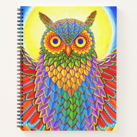 Colorful Rainbow Owl Spiral Notebook