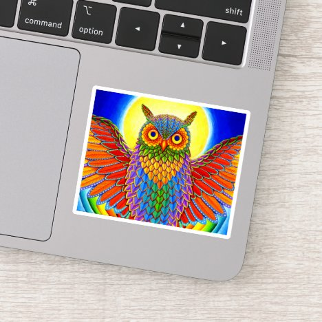 Colorful Rainbow Owl Vinyl Sticker