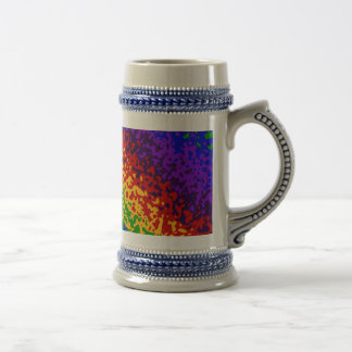 Colorful Rainbow Paint Splatters Abstract Art Beer Stein