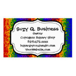 Colorful Rainbow Paint Splatters Abstract Art Business Card