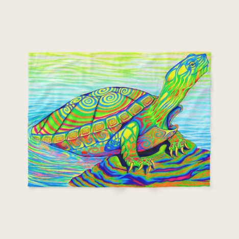 Colorful Rainbow Painted Turtle Fleece Blanket