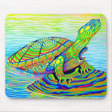 Colorful Rainbow Painted Turtle Mouse pad