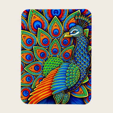 Colorful Rainbow Paisley Peacock Flexible Magnet
