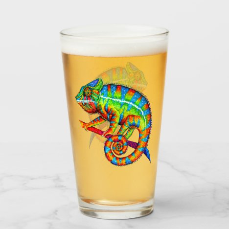 Colorful Rainbow Panther Chameleon Glass Cup
