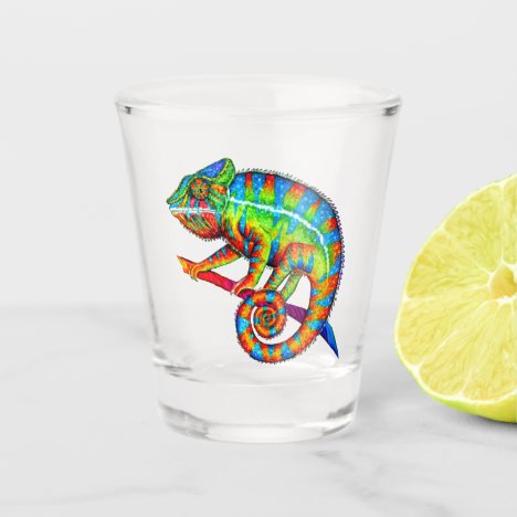 Colorful Rainbow Panther Chameleon Shot Glass