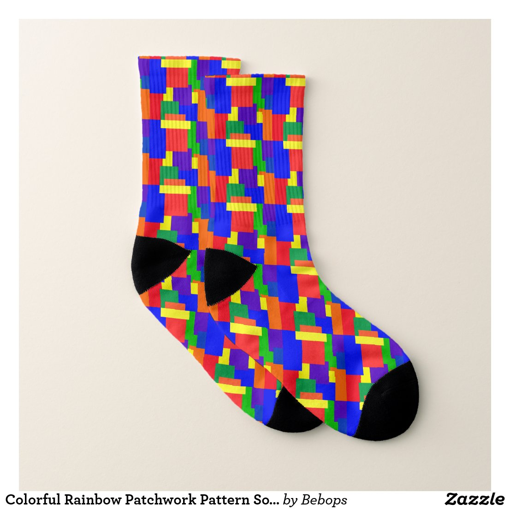 Colorful Rainbow Patchwork Pattern Socks