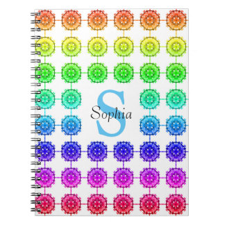 Colorful Rainbow Pattern Monogram Notebook