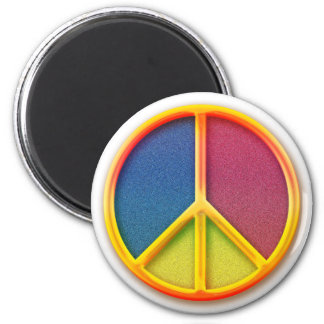 Colorful Rainbow Peace Symbol 2 Inch Round Magnet