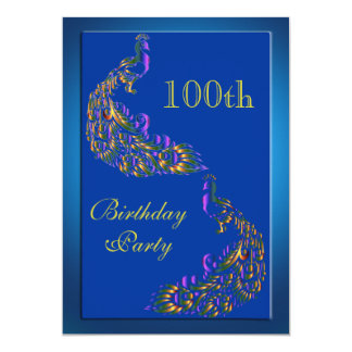 Colorful Rainbow Peacocks 100th Birthday Card