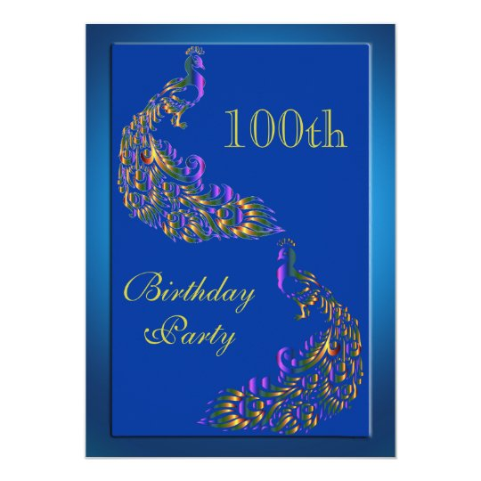 Colorful Rainbow Peacocks 100th Birthday Invitation