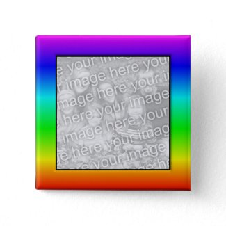 Colorful Rainbow Photo Frame Button button