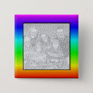 Colorful Rainbow Photo Frame Button