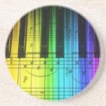 Colorful Rainbow Piano Keyboard Beverage Coaster